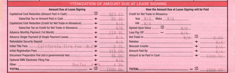 total amount due at lease signing